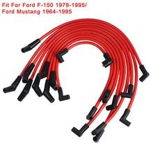 赤10.5ミリメートルレーシングスパークプラグワイヤフォード用5.0L 5.8L、sb sbf 302フォードF 150 1979 1995フォードマスタング1964 1995