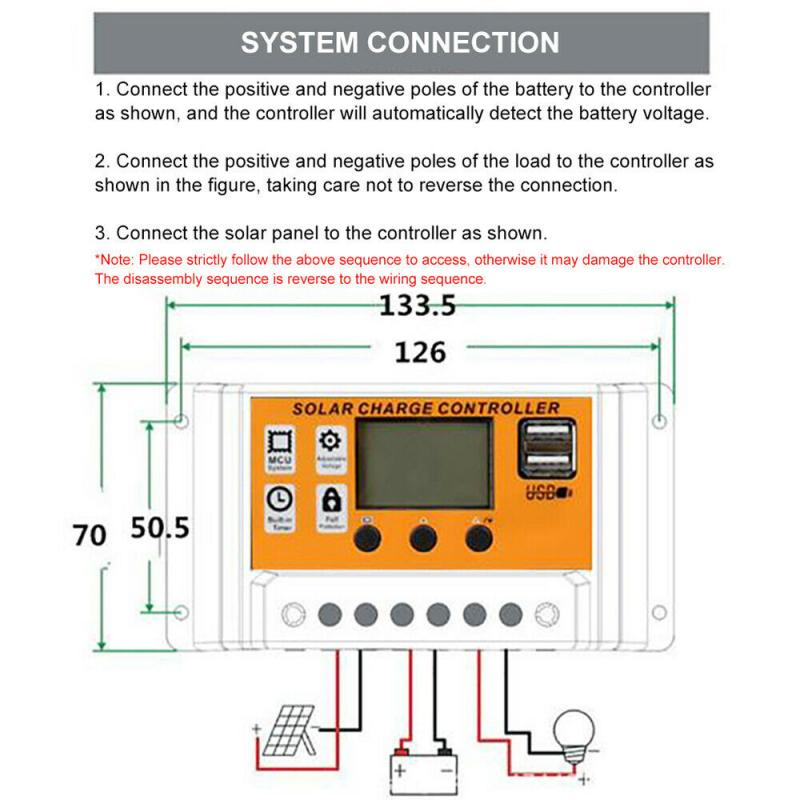 Dc12 24v controlador de carga solar dupla