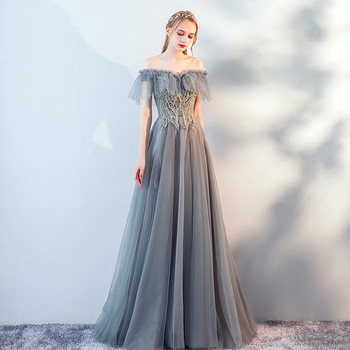 Gray Sexy Off Shoulder Oriental Party Female Hand-beaded Stage Show Tassel Qipao Elegant Celebrity Evening Dress Banquet Dresses