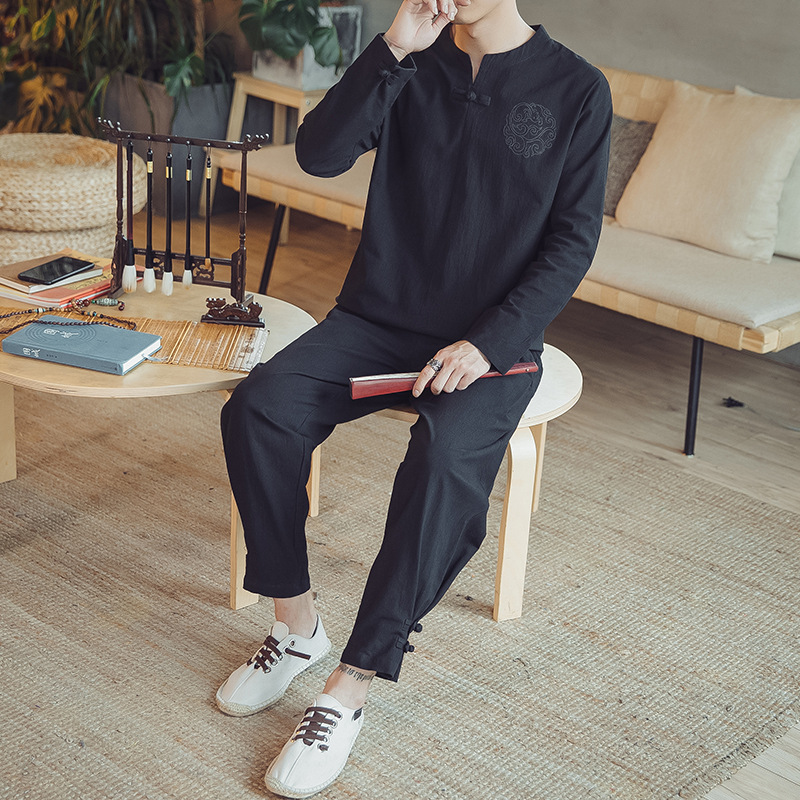 2019 Spring And Summer New Style Chinese-style Men Cotton Linen Embroidered Set Loose-Fit National Wind Retro Casual Men'S Wear