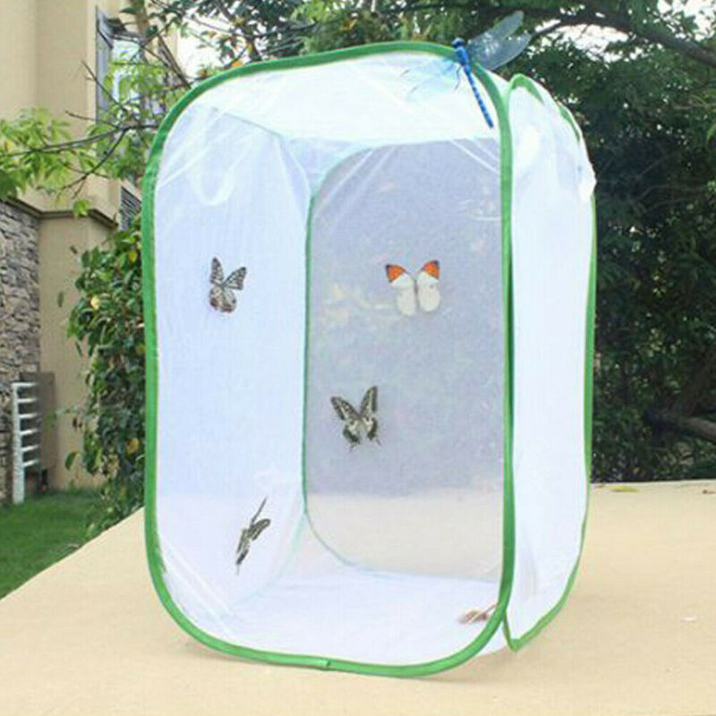 Foldable Butterfly Habitat Insect Cage Mesh Transparent Surface Portable Zipper /BY
