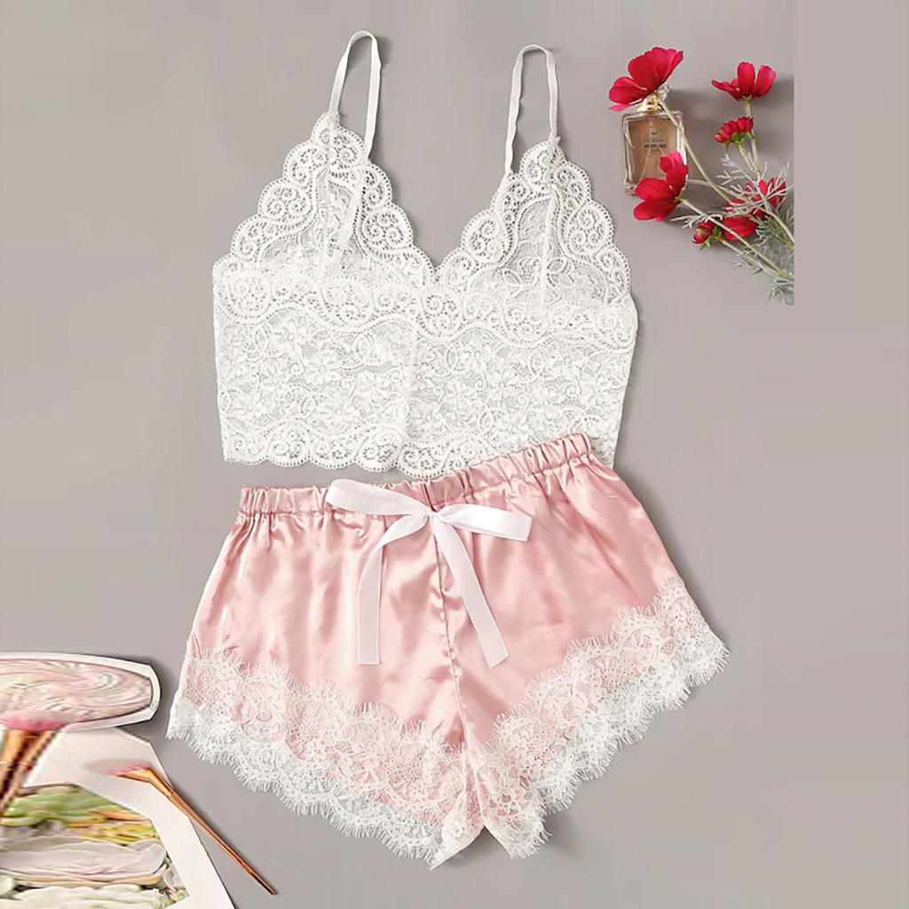 2019 Women Pajamas Sets Sexy Bras Ladies Sexy Lace Comfortable Polyester Sleepwear Underwear Tops Briefs Sets Lenceria *S