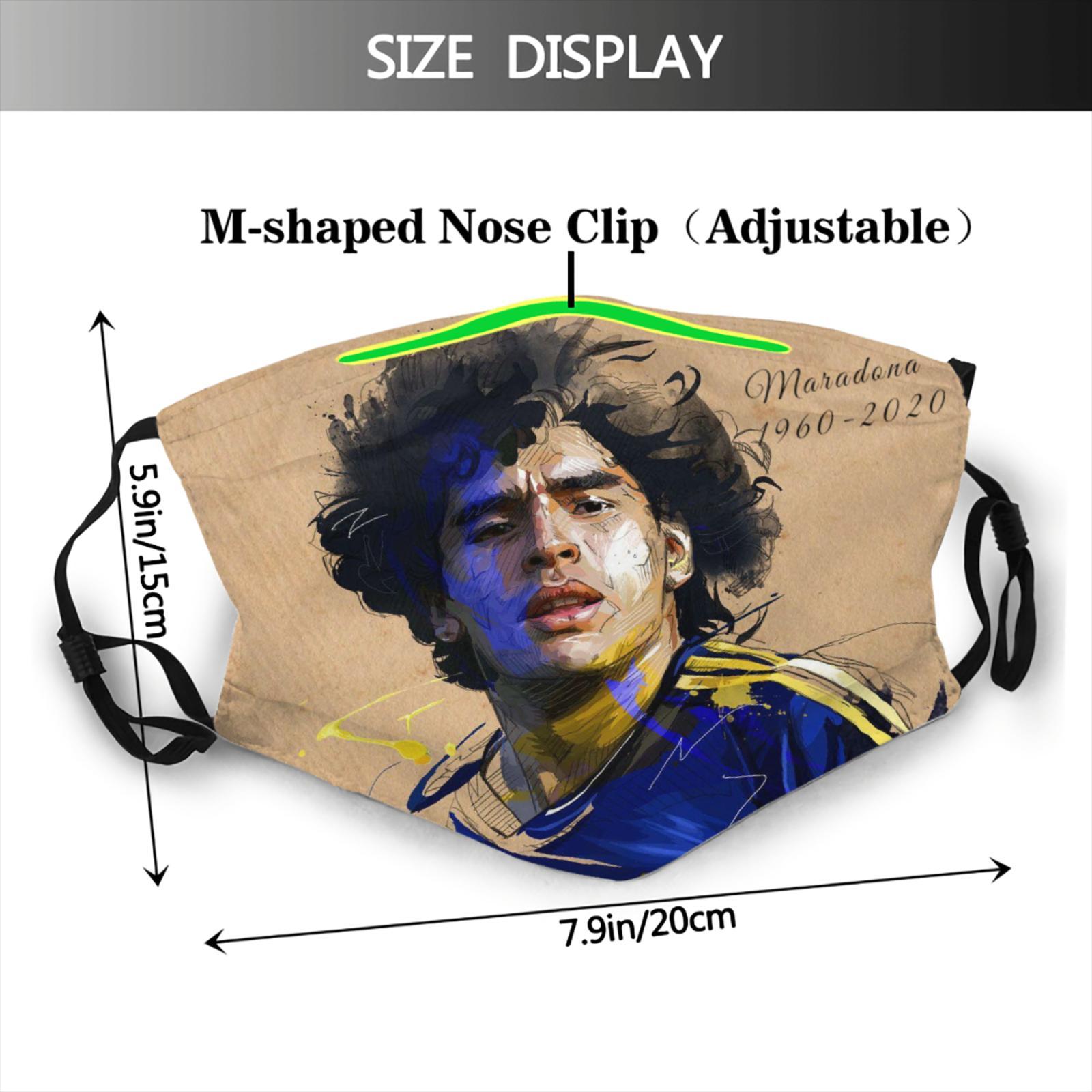 Маска для лица maradona Аргентинская, фильтр, дышащая, в стиле Харадзюку, Диего Армандо, Марадона, футбол, звезда, человек
