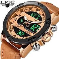 LIGE Top Brand Luxury Men Watch Shock Digital Watches Army Male Clock Waterproof Stopwatches LED Wristwatch Relogio Masculino