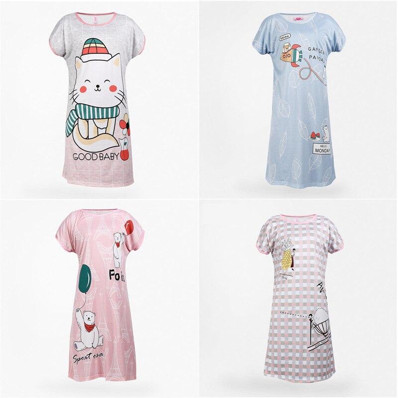 Womens Nightgowns Nightdress Women 100% Cotton Sleepshirts Animal Print Home Girls Cartoon Round Neck Short Sleeve Nightgowns
