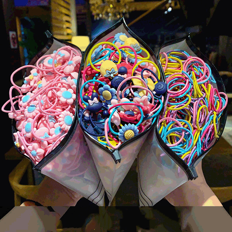 100/50/40/20Pack New Arrival High-quality Elastic Nylon Hair Bands Girls Colorful Rubber Band Cartoon Decor Hair Bands