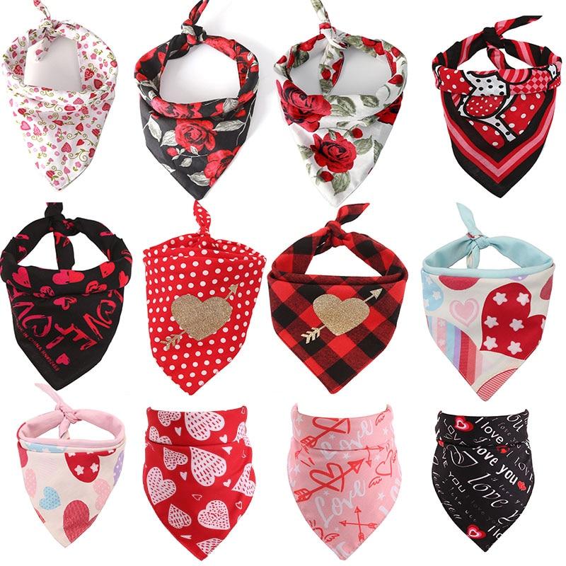 30pcs Valentine's Day Pet Products Dog Bandana Cotton Dog Cat Bandanas Scarf Bibs Printing Dog Grooming Accessories