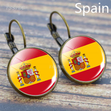 Europe National Flag Hook Earrings France Italy Spain Poland Netherlands Ireland Country Glass Cabochon Jewelry