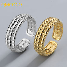 QMCOCO Water Drop 925 Sterling Silver Rings For Women Irregular Open Gold Ring Vintage Argent Accessories Jewelry
