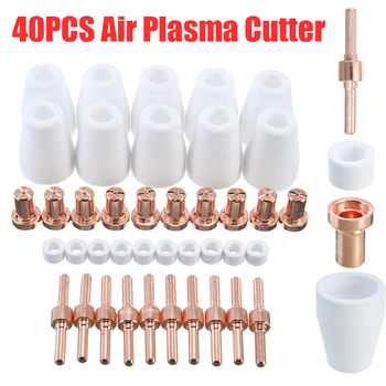 40Pcs Plasma Cutting Welding Torch Cutter Consumables Rings Ceramic Nozzles Electrode Kit Set For PT-31 LG-40 Torch pt 31 lg 40 air plasma cutter cutting torch complete 30 40amp 3meter 10 foot free shipping