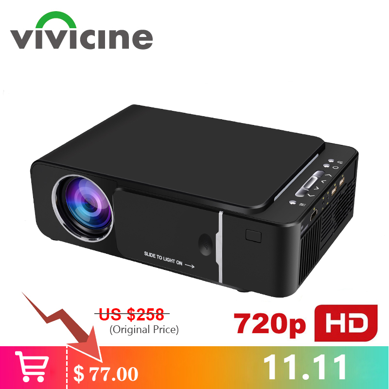 Projecteur portatif de HD de VIVICINE 1280x720 p, Option Android 7.1 HDMI USB 1080p Proyector de cinéma maison WIFI Mini projecteur Led