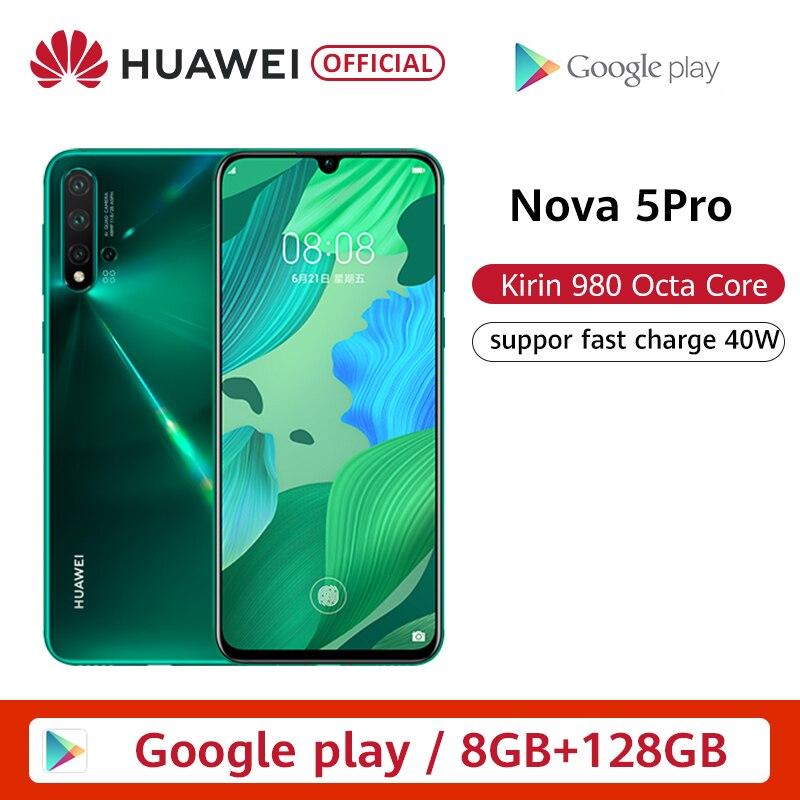 Original Huawei Nova 5 Pro 8GB 128GB 256GB Smartphone 48MP AI Cameras 32MP Front Camera 6.26'' Full Screen Kirin 980 NFC