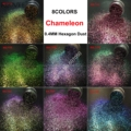 8COLORS Chameleon Glitter Mixed Metallic Luster 0.4MM Hexagon Shape Dust Nail Art for Craft Makeup Facepainting DIY Accessories