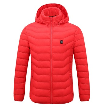 Puimentiua Mens Women Heated Outdoor Parka Coat USB Electric Battery Heating Hooded Jackets Warm Winter Thermal Jacket 7