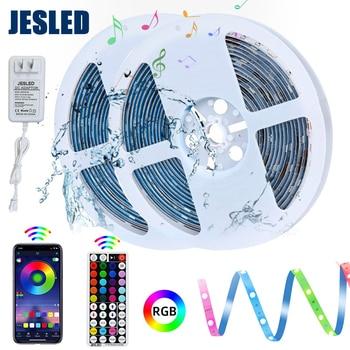цена на JESLED 12V Led Strip Light 5M 10M Flexible Strip Tape 5050SMD With 44 Keys RF Remote Controller RGB For Kitchen DIY Decoration