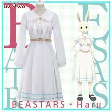 Adaptador de fantasia do haru de beastars, uniforme de cosplay do anime de coelho branco e bonito vestido