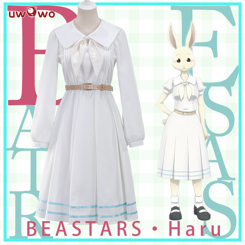 Pre-sale UWOWO Anime Beastars Haru Cosplay Costume Uniform White Rabbit Animal Cute Dress