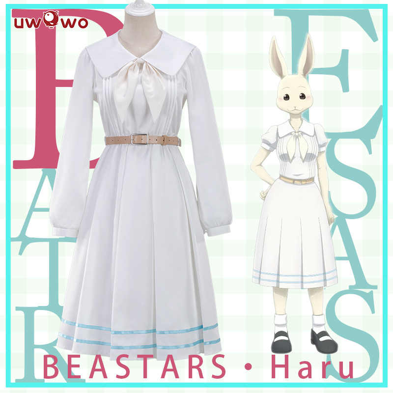 UWOWO Anime Beastars Haru Cosplay Costume Bianco Uniforme Coniglio Animale Vestito Carino