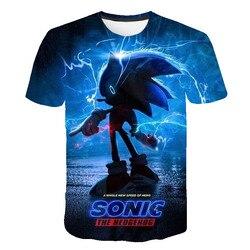 2021 letnia koszulka Sonic jeż Casual t-shirty Cartoon Baby 3D chłopcy T koszula moda oddychające ubrania dla dzieci koszule