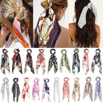 Bohemian Floral Spot Long Hair Scrunchies Hair Ribbon Elastic Hair Bands Hair Accessories Ponytail Hair Scarf For Women 1