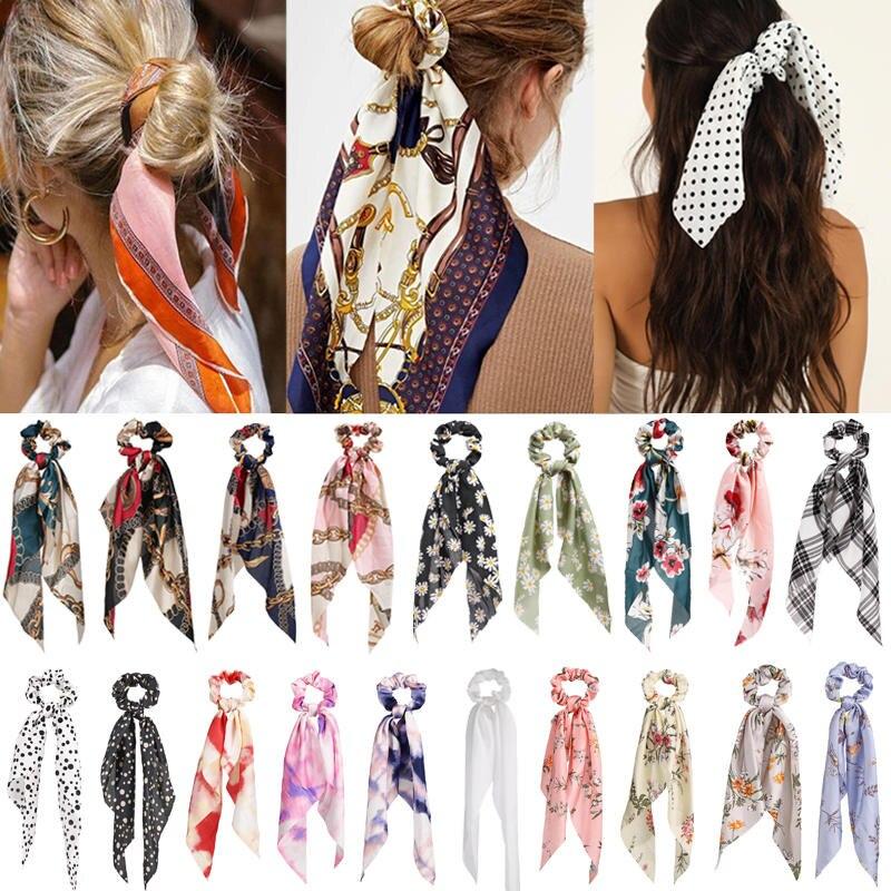 Bohemian Floral Spot Long Hair Scrunchies Hair Ribbon Elastic Hair Bands Hair Accessories