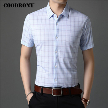COODRONY Men Shirt Spring Summer Short Sleeve Business Casual Shirts Fashion Classic Plaid Camisa Masculina Mens Clothing C6011S coodrony men shirt spring summer short sleeve casual shirts cotton fashion plaid camisa masculina with pocket mens dress c6008s