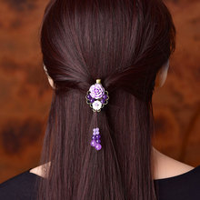 Purple jade Vintage Hairpin Headwear Ornaments Barrettes Seashell Resin Flower Hair Jewelry Women Hair Clip Head Accessories цена и фото
