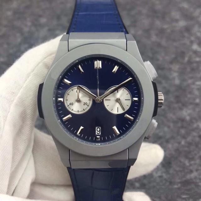 IsMyStore: Luxury Brand High Quality Chronograph Quartz Wristwatches Titanium Stainless Steel Black Blue Leather Grey Watches Men StopWatch