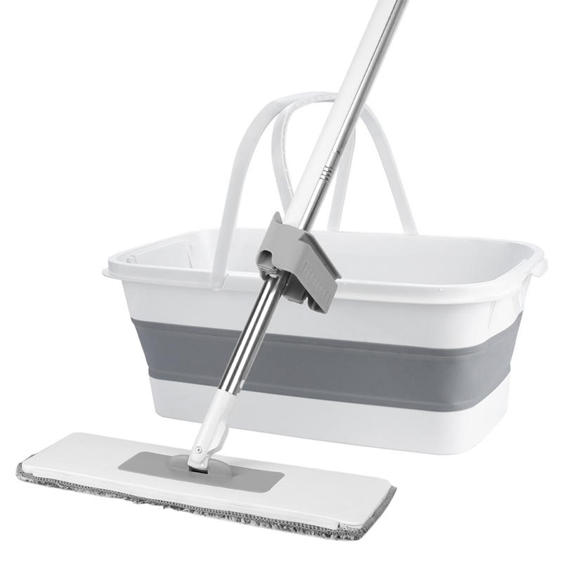 Flat Mop With Bucket Free Hand Washing Lazy Mop Squeeze Mop Automatic Spin 360 Rotating Wooden Floor Mop Household Cleaning Tool