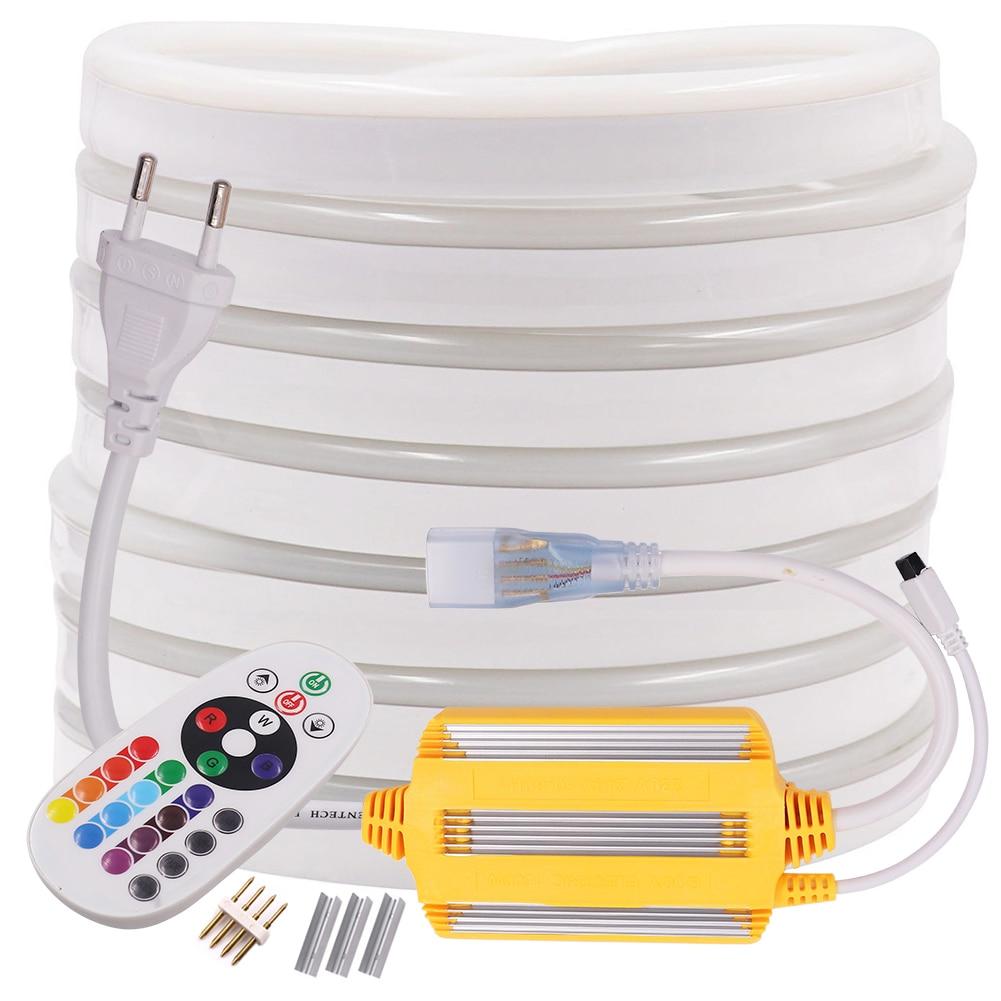 Flex RGB Neon Strip LED Light Remote Control 220V 240V AC 5050 Rope Light Waterproof Flexible LED Tape Home Decoration String
