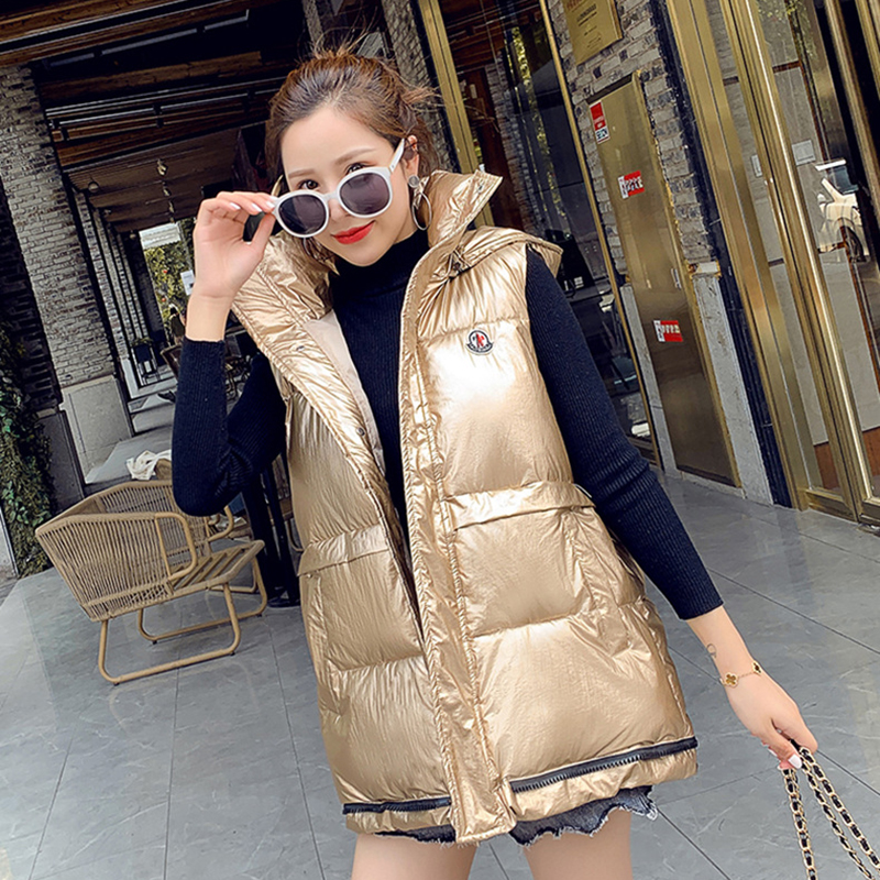 woman vest winter  for women sleeveless Bright face down Large size fashion trend cotton