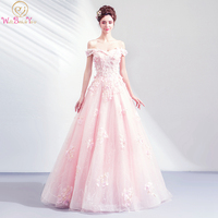 Long Princess Floral Prom Dress 2020 Off Shoulder Beaded A Line Sweetheart Women Party Gown Graduation Evening Dress Stock