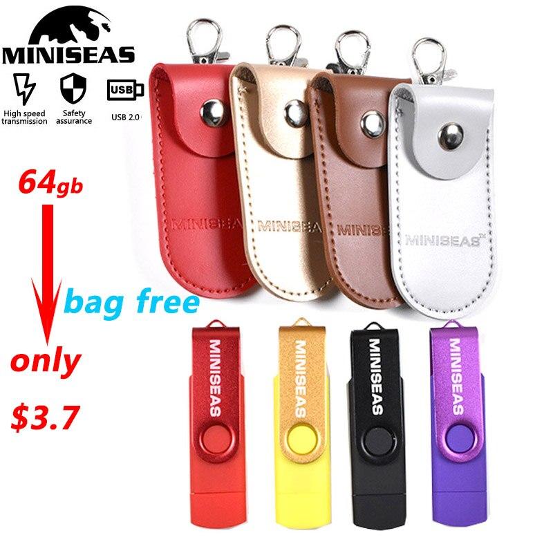 Miniseas Otg 9 Colors Usb Flash Drive 64GB Pendrive 32GB Memory Usb 2.0 Stick Pen Drive For Smart Phone Pc