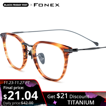 FONEX Pure B Titanium Optical Glasses Frame Men Vintage Prescription Eyeglasses Women Retro Round Myopia Spectacles Eyewear 839 acetate optical glasses frame men full retro vintage round circle prescription eyeglasses nerd women spectacles myopia eyewear