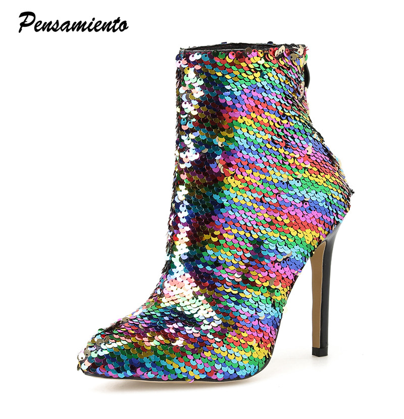 2019 Rainbow Glitter Bling Women Ankle