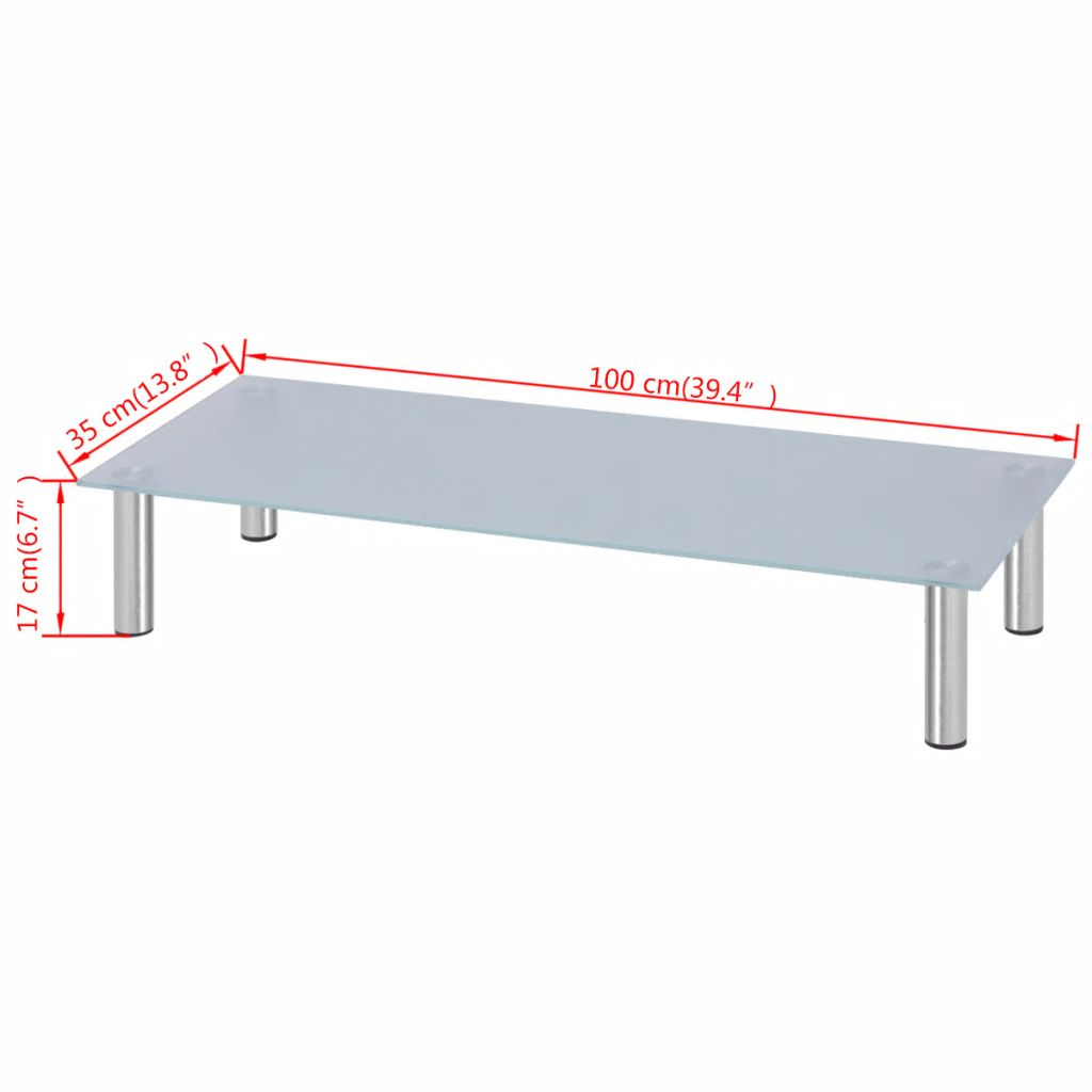 Mordern Tv Stand Glass Stand VidaXL Support For White Glass TV Screen Simple & Durable & Stable Entertainment 100x35x17 Cm