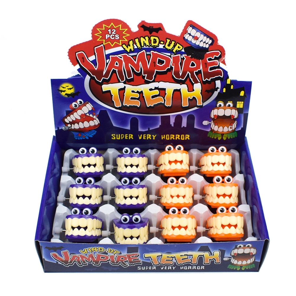 Novelty Funny Of Spring-Winding With Eyes Jumping Teeth Ghost Teeth Halloween Christmas Small Gifts Toy
