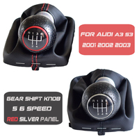 Painel de prata rea estilo do carro apto para audi a3 s3 2001 2002 2003 carro 5/6 velocidade manual do deslocamento de engrenagem botão vara alavanca gaiter bota