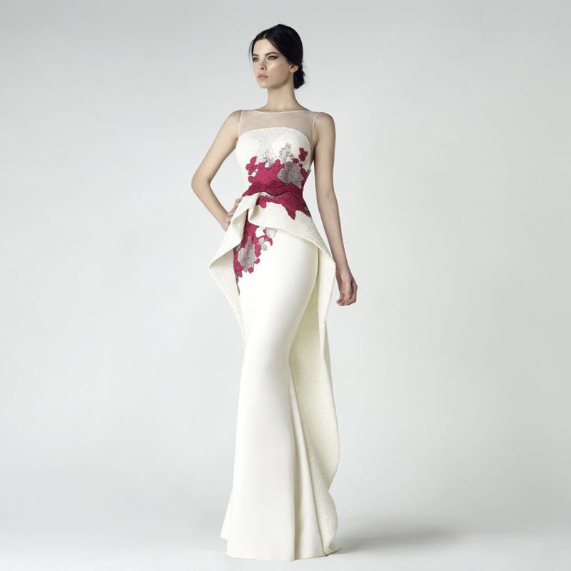 High Quality Beige Formal Mermaid Evening Dress 2019 New Sheer Neck Illusion Back Unique Prom Dress Chic Design Long Party Gowns