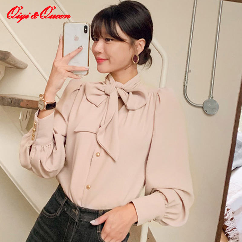 Qiqi&queen Bow Neck Lace Up Single-breasted Shirts Women 2019 Autumn Fashion Bottoming Blouses Elegant Korean Office Wear Shirt
