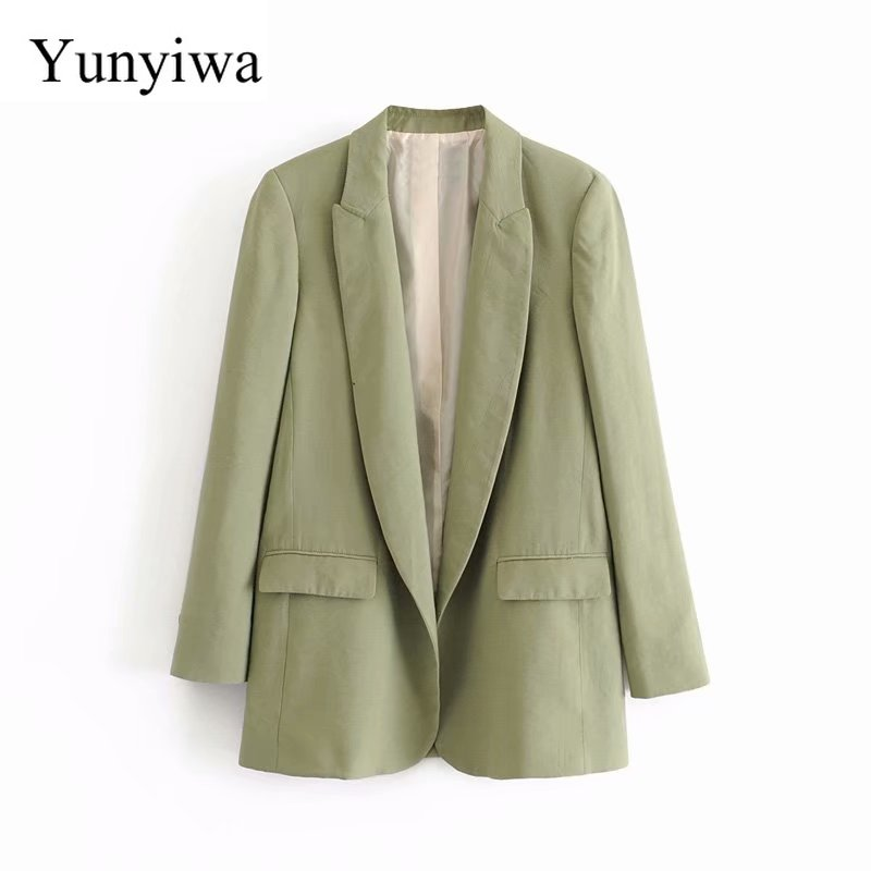 2020 Women Fashion Solid Color Open Stitch Casual Business Blazer Office Lady Suit Leisure Pockets Outwear Chic Tops