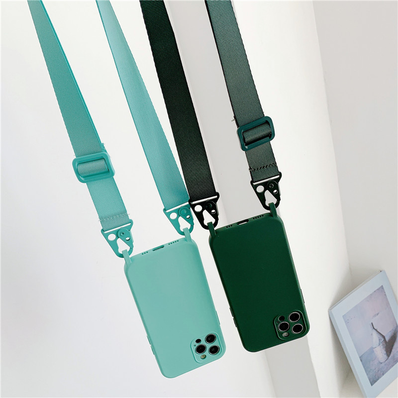 Luxury Silicone Chain Necklace Phone Case For iPhone 12 11 Pro Max 7 8 Plus X XR XS Max Lanyard Neck Strap Rope Cord Back Cover