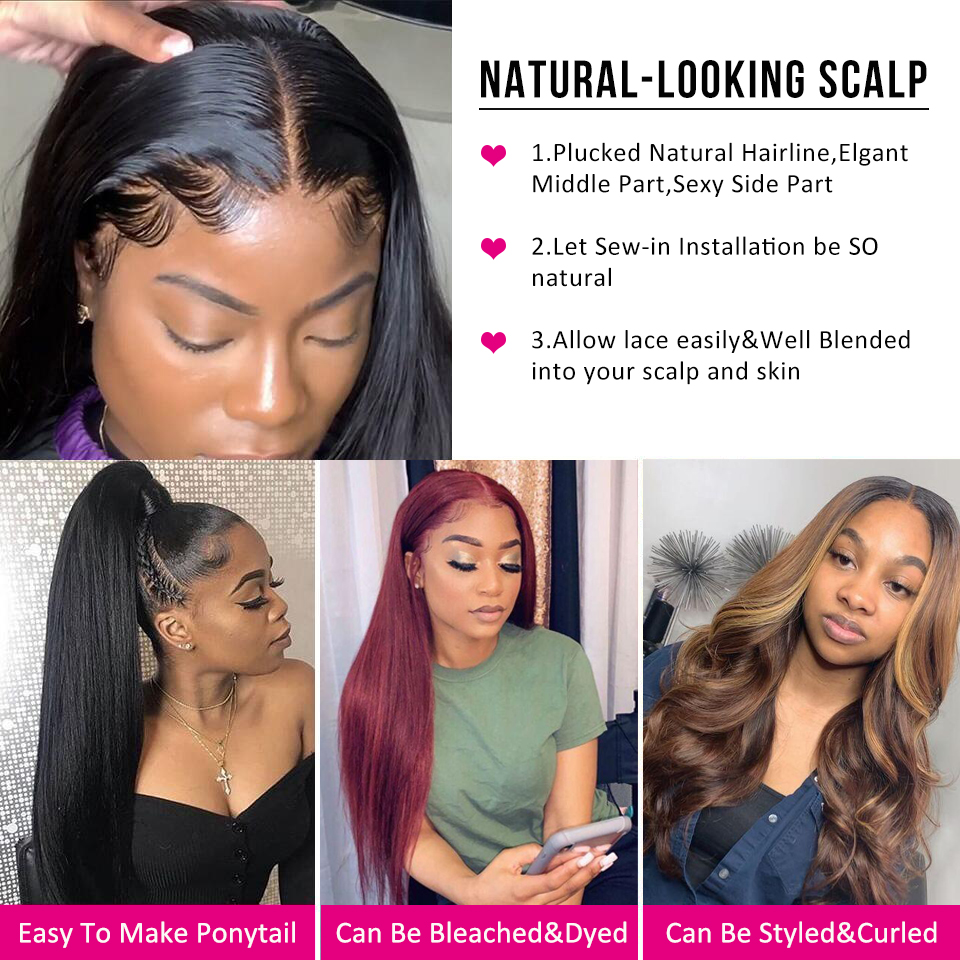Beaudiva 13x4 Straight Lace Front  Wigs  Pre Plucked  Hair Wig 360 Lace Frontal Straight  Wigs 3