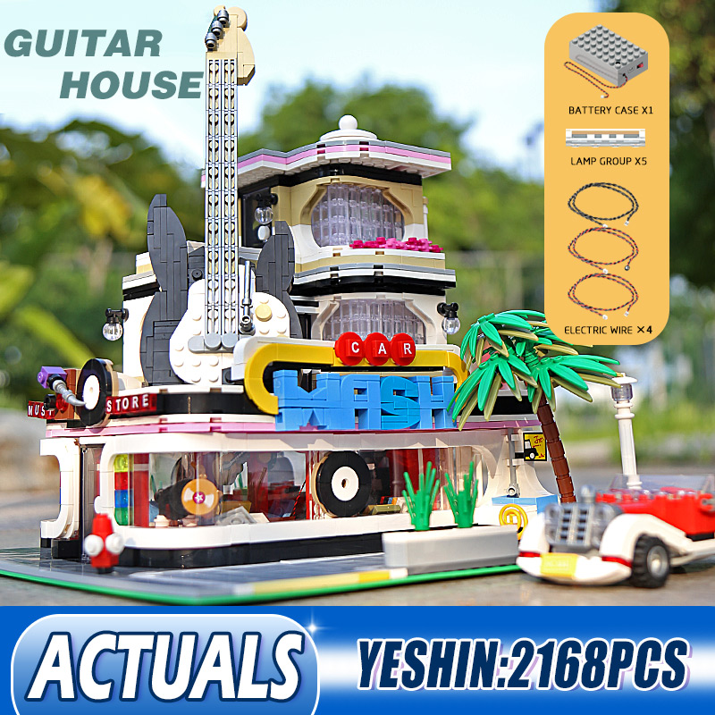 Yeshin MOC Streetview Downtown Diners Guitar House Model With Led Light Building Blocks Bricks Kids Christmas Toys Gifts