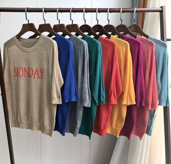 Early Autumn Women Thin Knitting Pullover Sweater Week Letter Wool Acrylic Brilliant Colors Knitwear