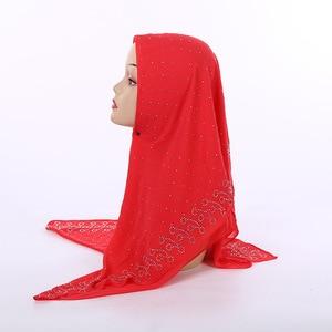 Image 5 - New National Style pearl chiffon Muslim Square Scarf 105*105cm Womens Fashion Beaded Headscarf Wholesale
