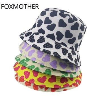 FOXMOTHER-Sombrero de pescador Reversible para mujer, Gorras de pescador con estampado de corazón de amor, regalos de San Valentín para mamá y esposa