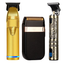 Professional Barber Hair Clipper Rechargeable Electric T-Outliner Finish Cutting Machine Beard Trimmer Shaver Haircut set