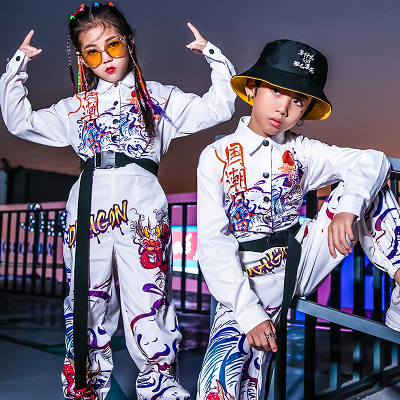 New Kids Jazz Dance Costume Child Hip Hop Set Autumn And Winter Street Dance White Clothes Boys/Girls Stage Clothes DQL2912