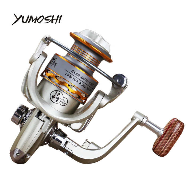2019 nueva bobina de pesca de madera handshake 12 + 1BB carrete de pesca giratorio de Metal profesional carrete de pesca de mano izquierda/derecha las ruedas